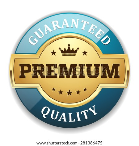 Gold premium quality badge with light blue border on white background - stock vector