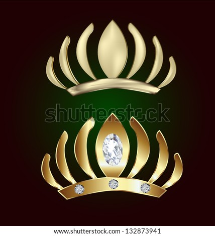 Gold princess crowns with diamonds vector - stock vector