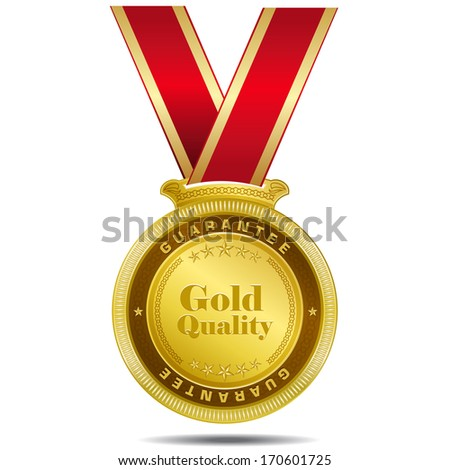 Gold Quality Gold Medal Vector Design - stock vector