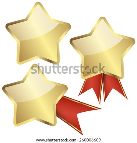 gold quality star template with or without red ribbons