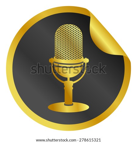 Gold radio microphone web icon, round sticker with curved corner. Mic shape silhouette on black bent circle label. Realistic graphic design, vector art image illustration isolated on white background - stock vector