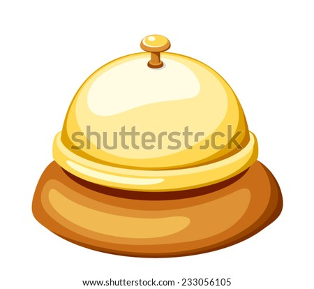 Gold reception bell isolated on white. Vector illustration. - stock vector