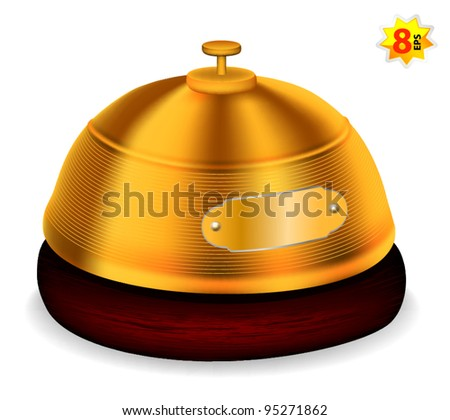 Gold reception bell. Mesh & gradients design.