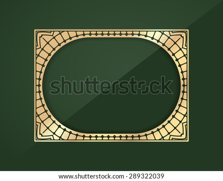 Gold rectangular lace design element - frame with shadow on a rich dark green background with a middle place for your text or decor. - stock vector