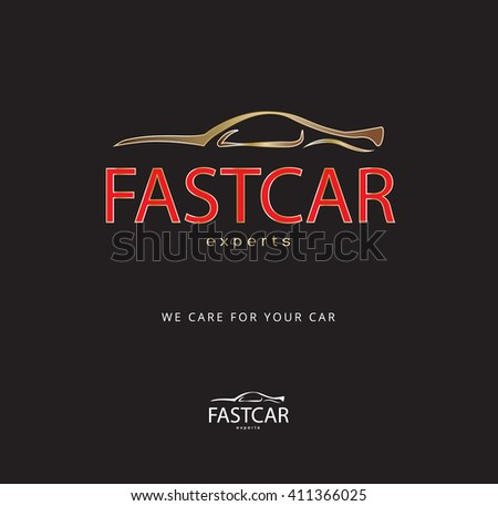 GOLD & RED , DYNAMIC LUXURY DESIGN OF A CAR ICON / LOGO - stock vector