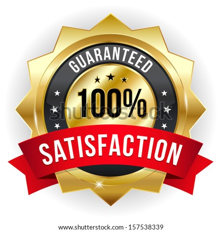 Gold red hundred percent satisfaction badge - stock vector