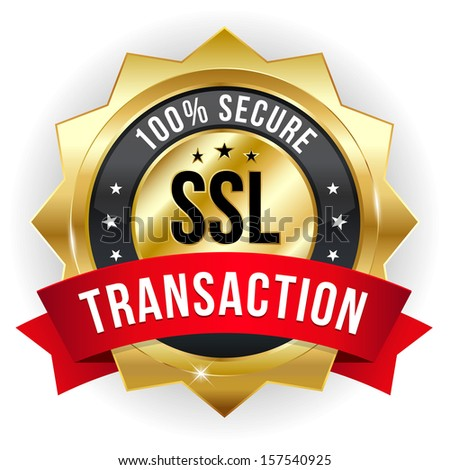 Gold red secure transaction badge - stock vector