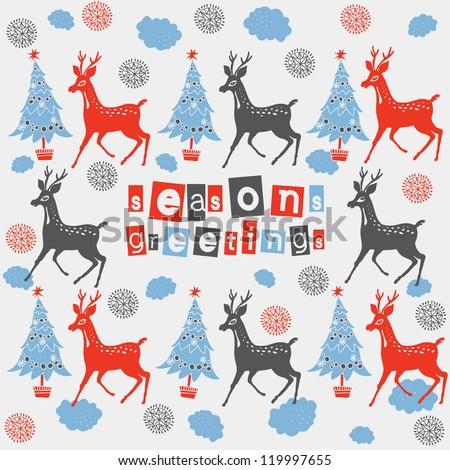 "Gold reindeer ""Season's Greetings"" card in vector format - stock vector"