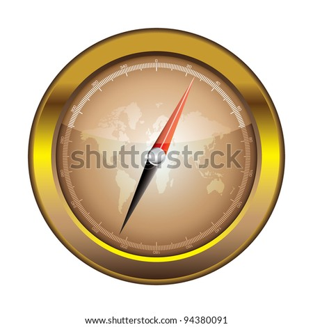 Gold retro compass with world and light reflection illustration - stock vector