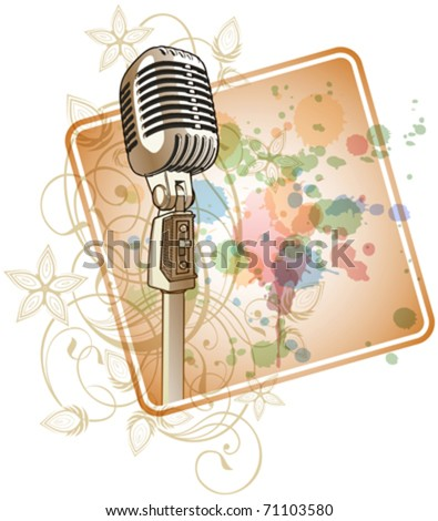 Gold Retro Microphone & Floral calligraphy ornament - a stylized orchid & color paint background. Eps10 - stock vector