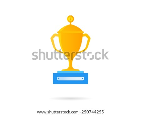 Gold reward icon. Flat vector illustration isolated on white - stock vector