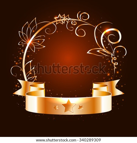 gold ribbon and round frame with decorative elements on a dark   background,vector - stock vector