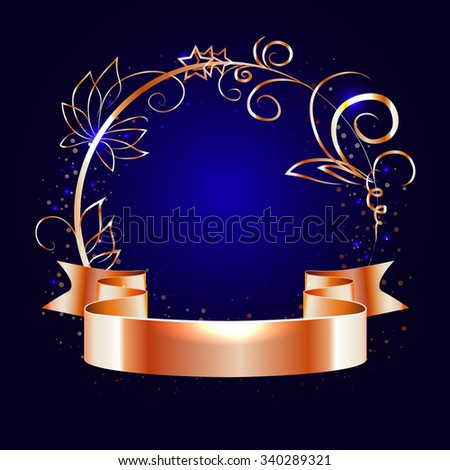gold ribbon and round frame with decorative elements on a dark  blue background,vector - stock vector