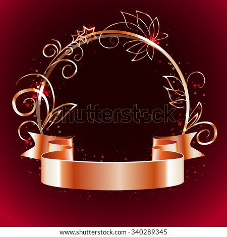 gold ribbon and round frame with decorative elements on a dark  red background,vector - stock vector