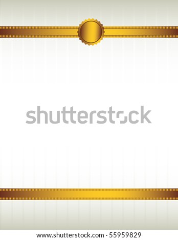 Gold ribbon and seal background 1 - vector