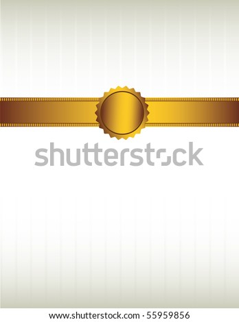 Gold ribbon and seal background 2 - vector