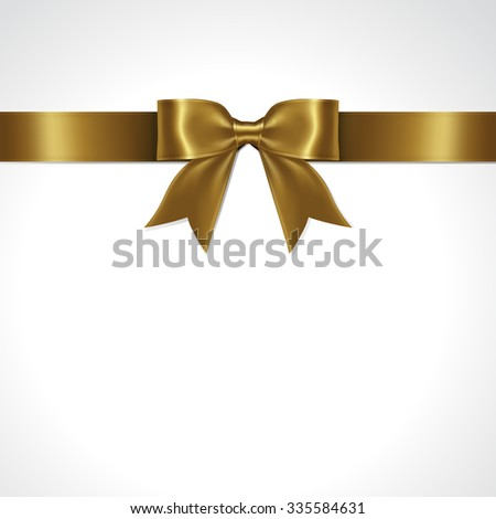 Gold ribbon bow vector - stock vector