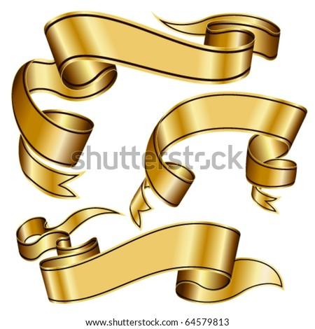 Gold ribbon collection - stock vector
