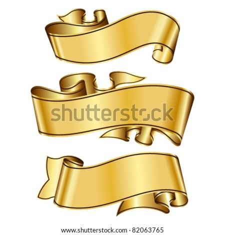 Gold Ribbon Scrolls Banners Editable Vector Stock Vector ...