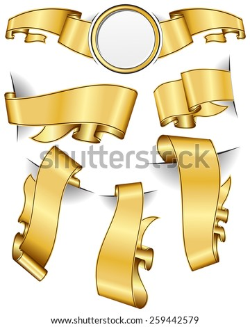Gold ribbon collection isolated on white background - stock vector