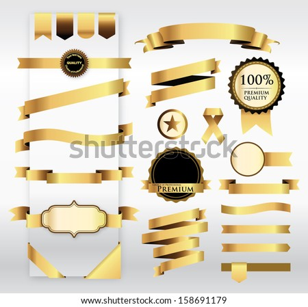 Gold Ribbon with Tag - stock vector