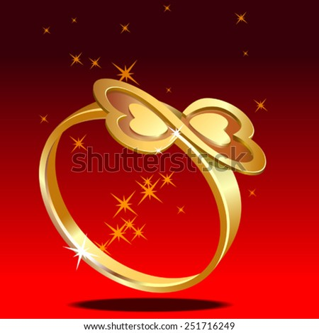 Gold ring studded with twin hearts/Valentine - stock vector