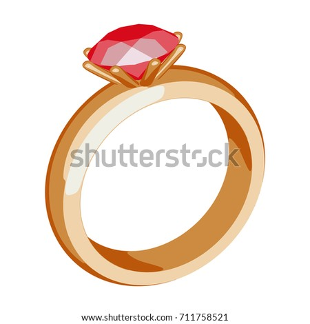 Gold ring with a precious stone. Gold jewelry on white background. Cartoon style. Vector illustration