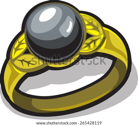 gold ring with black pearl - stock vector