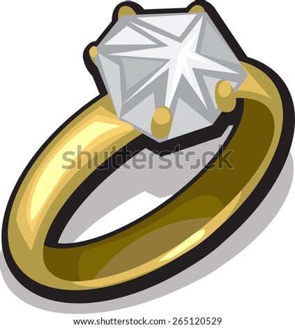 gold ring with diamond - stock vector