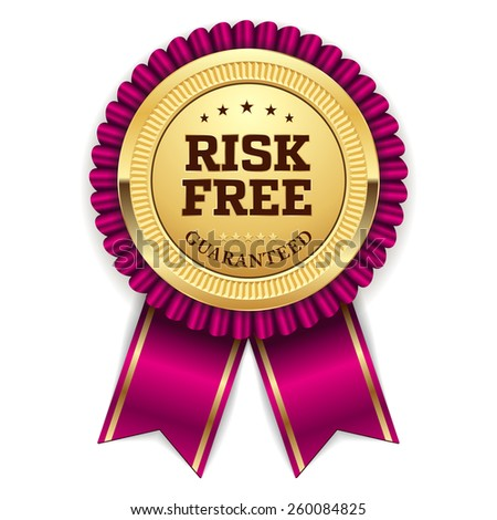 Gold risk free badge with purple ribbon on white background - stock vector