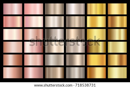 Gold rose, bronze, silver and gold foil texture gradation background set. Vector golden elegant, shiny and metalic gradient collection for chrome border, frame, ribbon, label design