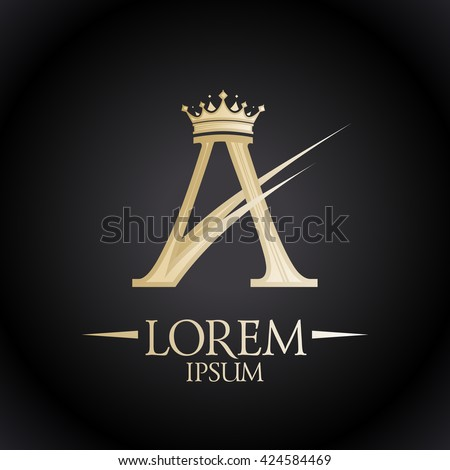 Gold royal A letter with crown, chic logo template - stock vector