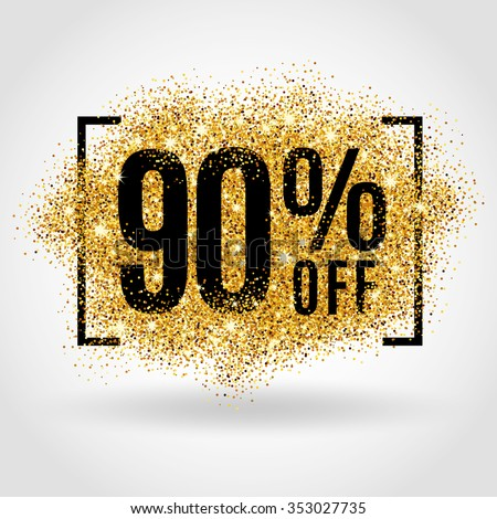 Gold sale 90% percent. Gold sale 90% percent on gold background. Gold sale background for flyer, poster, shopping, sale sign, discount, marketing, selling, banner, web, header. Gold blur background - stock vector