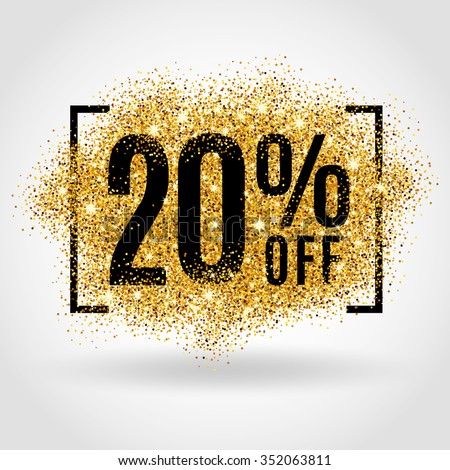 Gold sale 20% percent on gold background. Gold sale background for flyer, poster, shopping, for sale sign, discount, marketing, selling, banner, web, header. Gold blur background. 20% off. Sale 20%. - stock vector