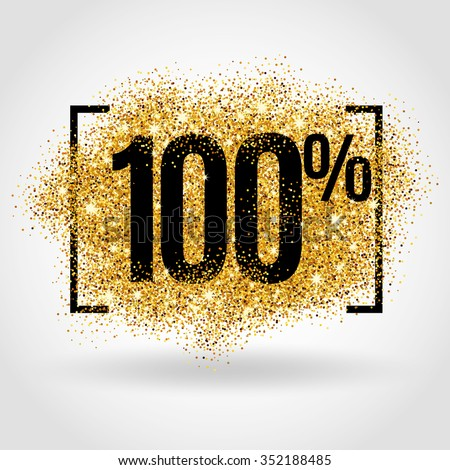 Gold sale 100% percent on gold background. Gold sale background for flyer, poster, shopping, for sale sign, discount, marketing, selling, banner, web, header. Gold blur background - stock vector