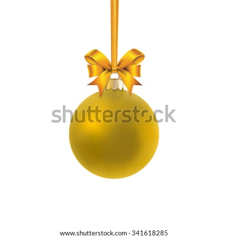 Gold satin bauble hanging on a gold ribbon with gold bow isolated on white.