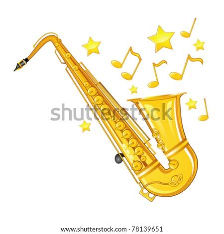 Gold saxophone - stock vector
