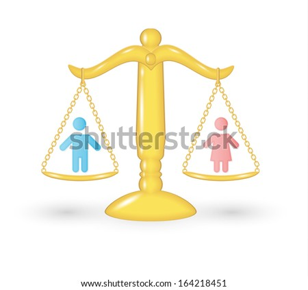gold scale with persons as a symbol of equality of the genders - stock vector