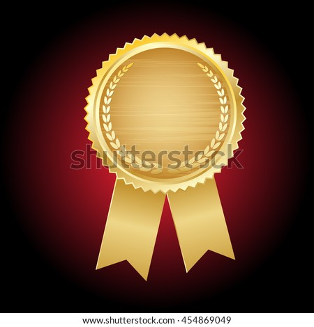 gold seal of quality template ,label , award with ribbons. Vector illustration.