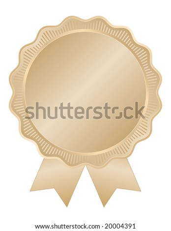 Gold seal or emblem with wavy edge and ridges for award, anniversary, or quality assurance use.