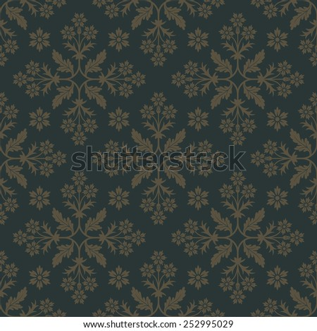 Gold seamless background with floral elements. Pattern for wallpaper and textile. Editable vector file. - stock vector