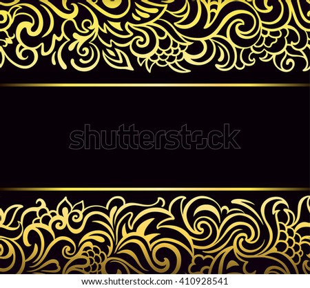 Gold seamless border. Exquisite openwork frame with leaves, tendrils and berries on black background. Template for design.?lassic ornament for invitation, greeting. Vector illustration - stock vector