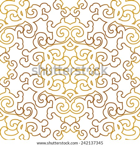 Gold, seamless ornament in east style.