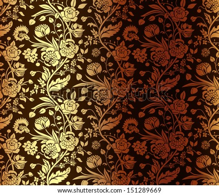 Gold seamless pattern with a vintage flower bouquets carnations and chrysanthemums