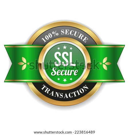 Gold secure transaction badge with green ribbon on white background - stock vector