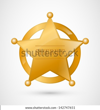Gold Sheriff Star Badge with shadow - stock vector