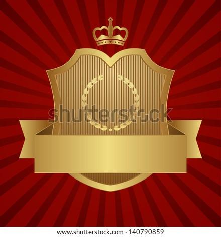 gold shield design - stock vector