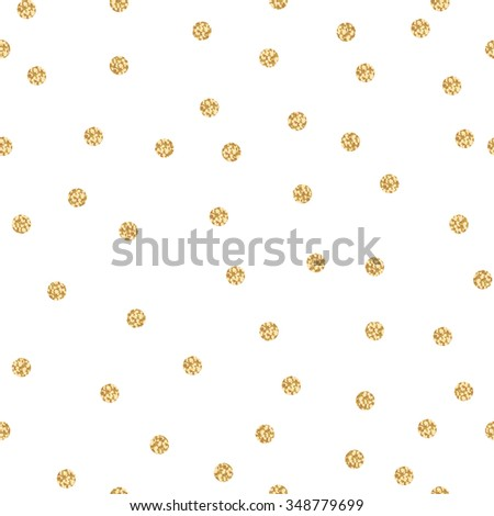 Gold shimmer glitter polka dot seamless pattern. Vector foil abstract circles texture. Sparkle balls background. - stock vector