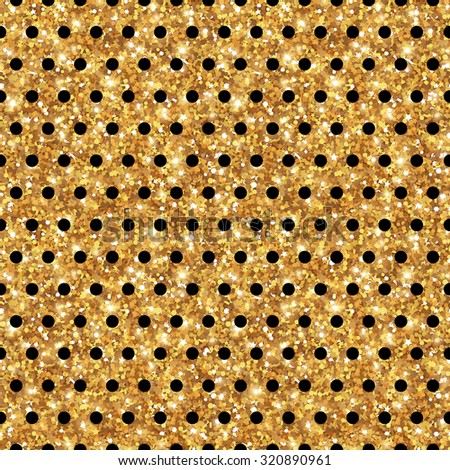 Gold Shining Polka Dot Seamless Pattern. Vector illustration. Great for greeting card or invitation design. Glitter Texture, Sequins Pattern. Lights and Sparkles. New Year or Christmas Backdrop. - stock vector