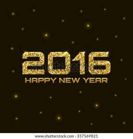 Gold Shiny Bright New Year 2016 Background. Glow vector illustration